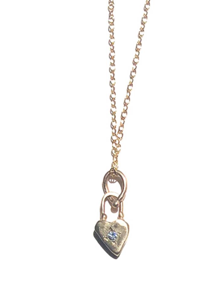 Diamond Heart Lock Pendant Necklace