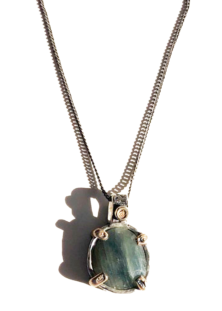 Dusty Green Sapphire Pendant Necklace