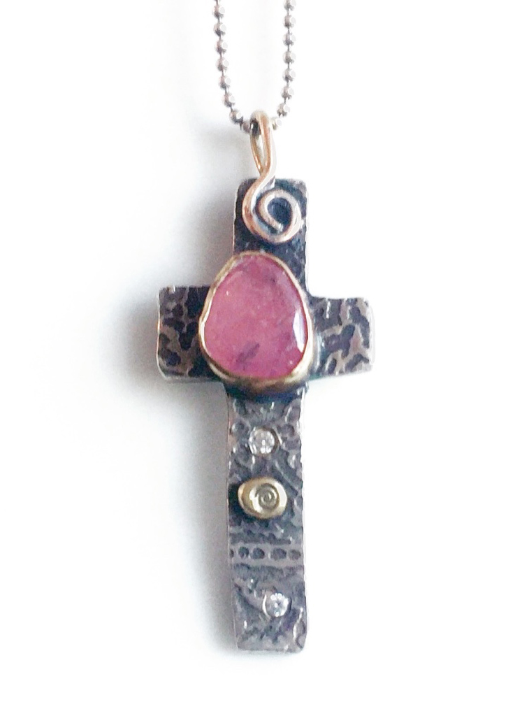 Silver and Pink Sapphire Cross