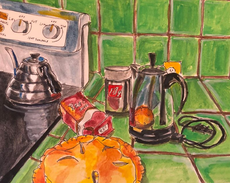 Green Kitchen with Pie and Peets