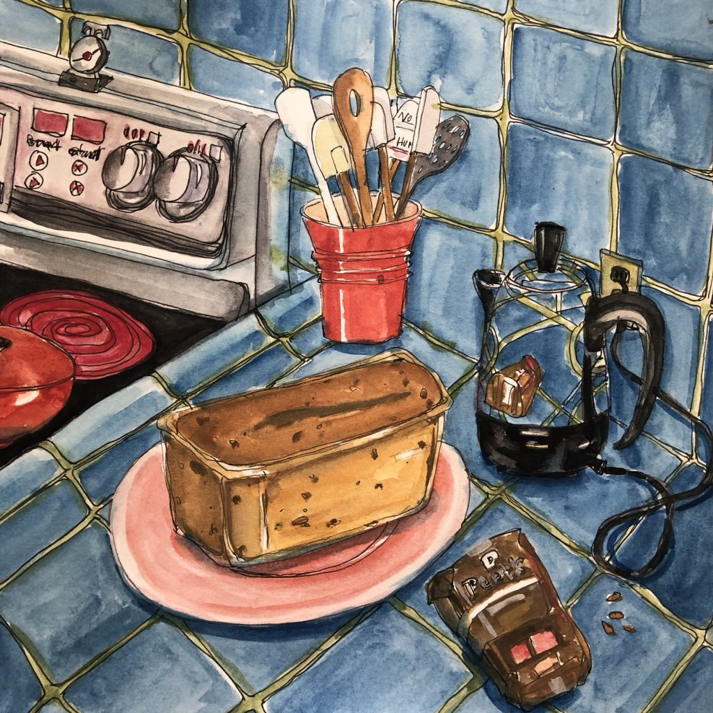 """Watercolor Art for sale- titled """"Banana Bread and Coffee"""". purchase  @ https://karenhazarian.com/product/banana-bread-and-coffee/"""